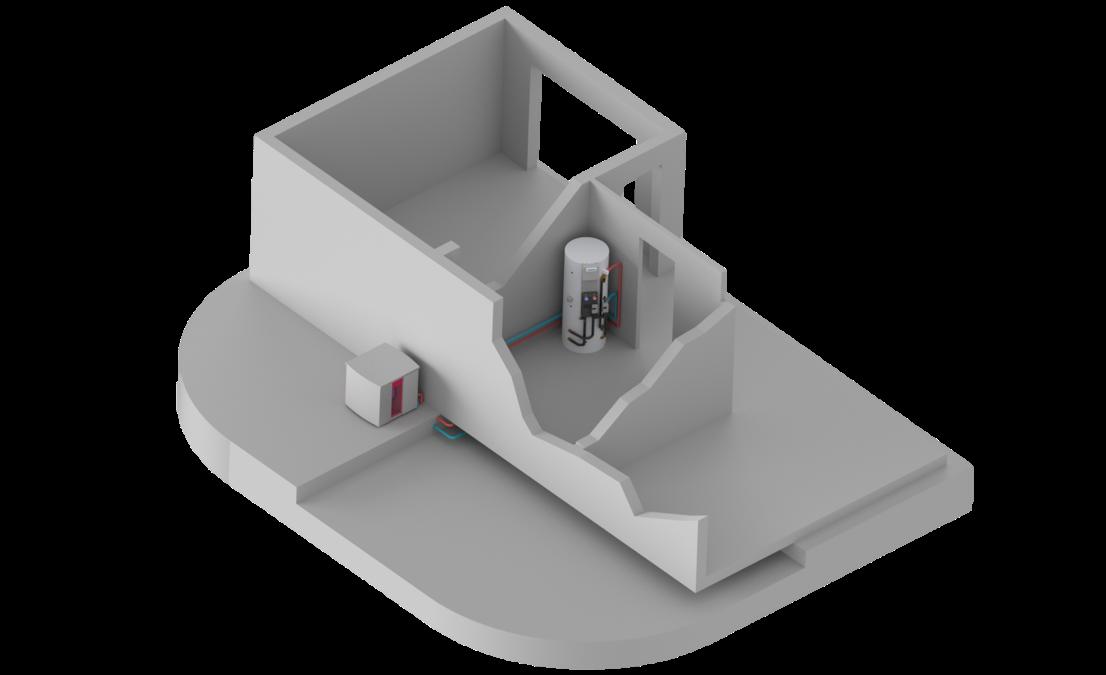 Vue 3D de la pompe à chaleur exterieure air eau aerothermie AIZEO et son ballon d'eau chaude sanitaire