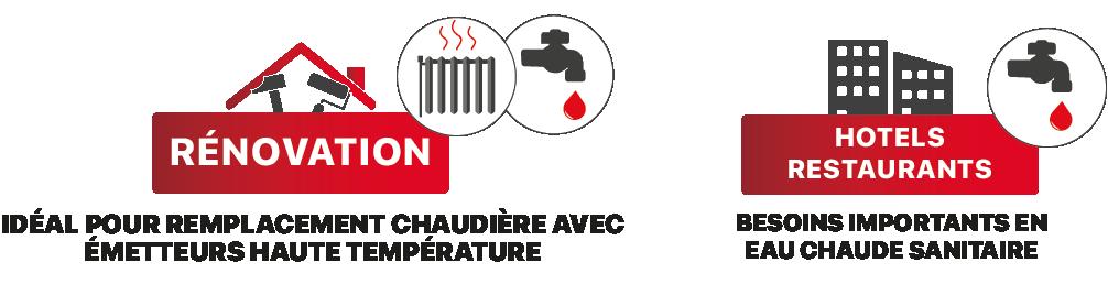 Gros besoin d'eau chaude sanitaire ecs, emetteurs haute temperature radiateur fonte , la pompe a chaleur renov haute temperature