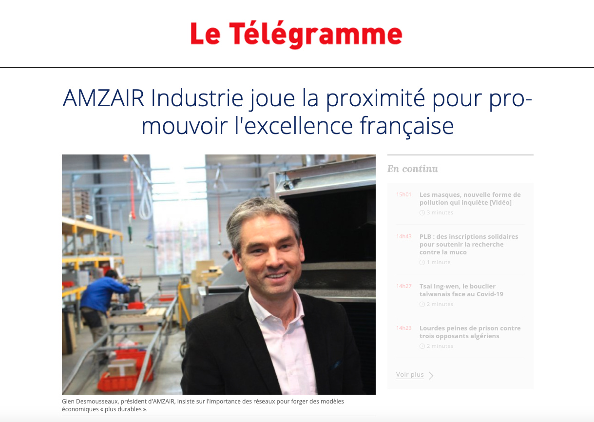 AMZAIR Industrie joue la proximité et production locale - Fabricant Bretagne pompe à chaleur - Publi-info partenaire - Le Télégramme - 15-05-20
