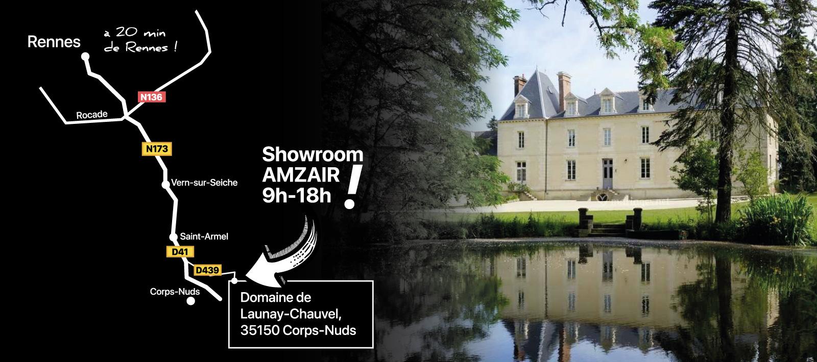 Plan pour se rendre au showroom de pompes à chaleur AMZAIR à Rennes
