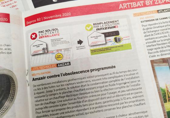 Photo de l'article sur la PAC air/sol RSOL dans le magazine ZEPROS