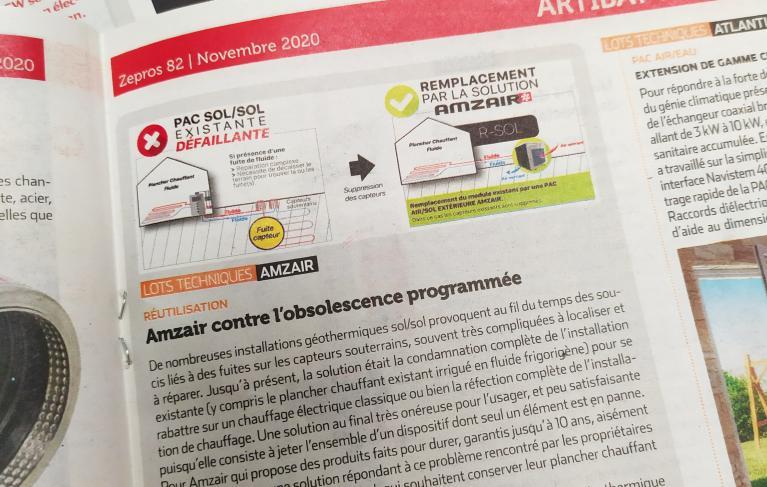 Photo de l'article sur la PAC air/sol RSOL dans le magazine ZEPROS