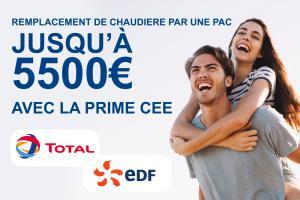 REMPLACEMENT DE CHAUDIERE PAR UNE PAC Jusqu'à 5500€ avec la prime CEE EDF ou TOTAL