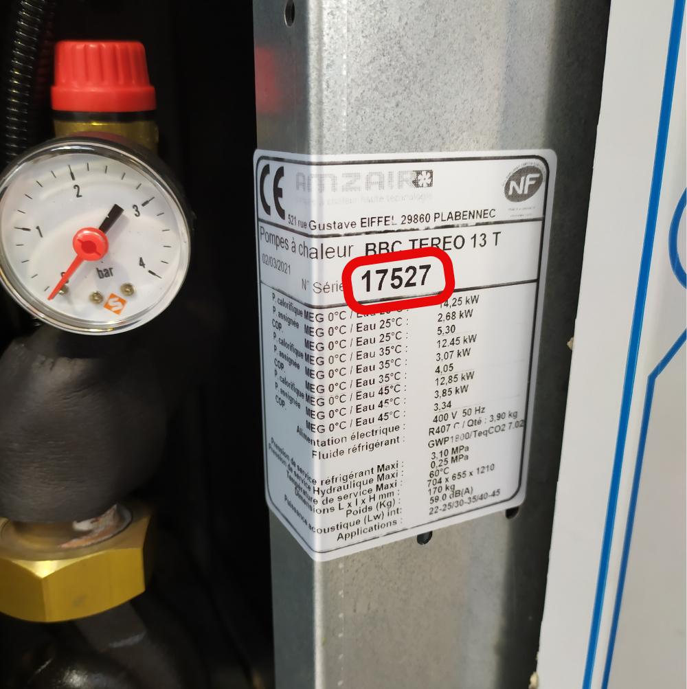Trouver le numéro de série de sa pompe à chaleur AMZAIR